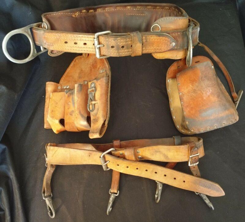 Bashlin #88 Lineman Leather Belt Size D21 & 2 Leather Tool Pouches Klein 5140K