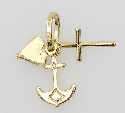- 14K Yellow Gold Tiny Faith, Hope, and Charity, Heart Cross Anchor Charm Pendant