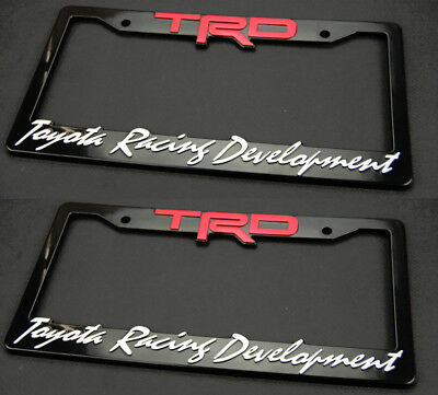 (Two) 3D ABS Molded TRD License Plate Tag Frame Front Rear For All Toyota Scion