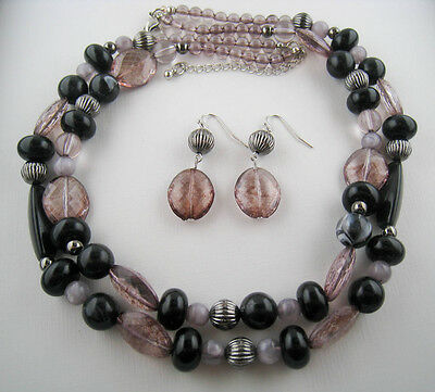 Vintage Style Silver/Smoke/Grey/Black Bead Necklace Earrings