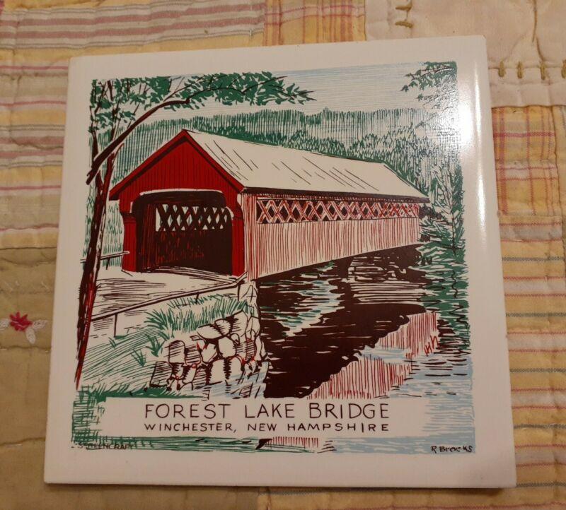 Vintage Forest Lake Covered Bridge New Hampshire Ceramic Tile Trivet Hanging