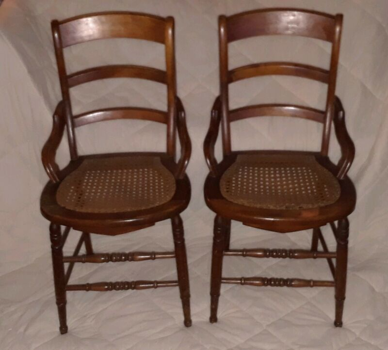 Pair Antique Walnut Cane Bottom Chairs Wicker Rattan Early Victorian Dining
