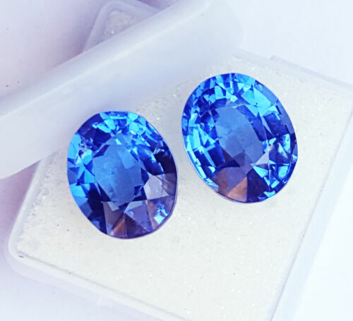 Certified Loose Gemstone Natural Blue Sapphire 8 & 10 Ct Pair  RK104