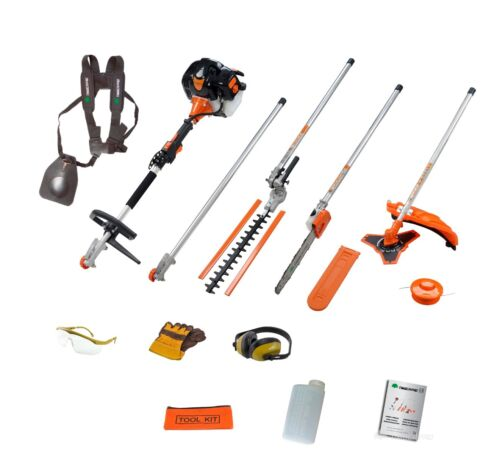 52cc Multi Function Garden Tool 5in1 Petrol Strimmer, Brush Cutter, Chainsaw etc