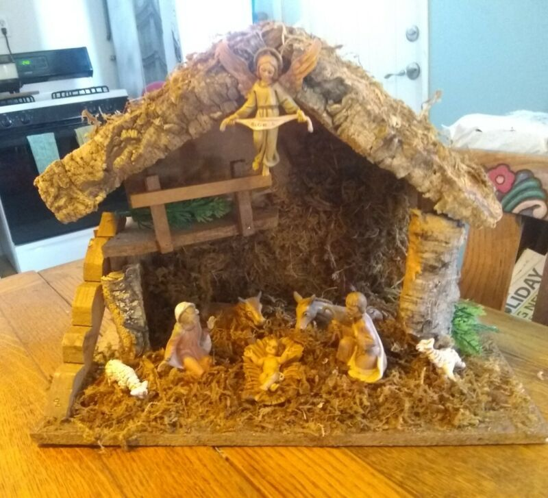 Vintage Wooden Nativity Scene