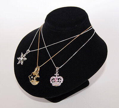6.2hx8w Black Velvet Jewelry Display Bust Necklace Chain Pendant Earring Ja37b