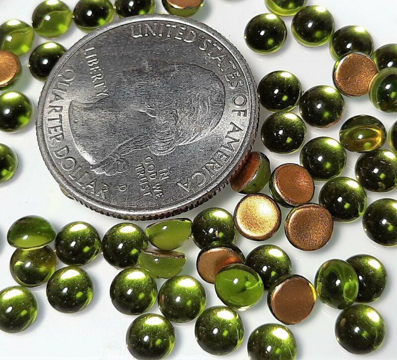 5mm Olivine Transparent Round Glass Cabochons 36ct