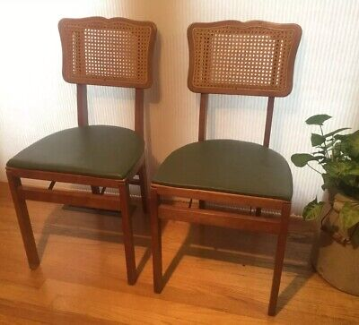 Pair of 2 Stakmore Mid Century Wood Folding Chairs Caned Cane Back Green Cane Back Folding Chairs