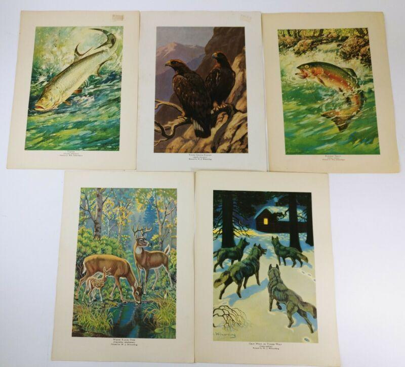 "W.J. WILWERDING Paper Prints Lot of 5 Different Prints 11¾"" x 8½"""