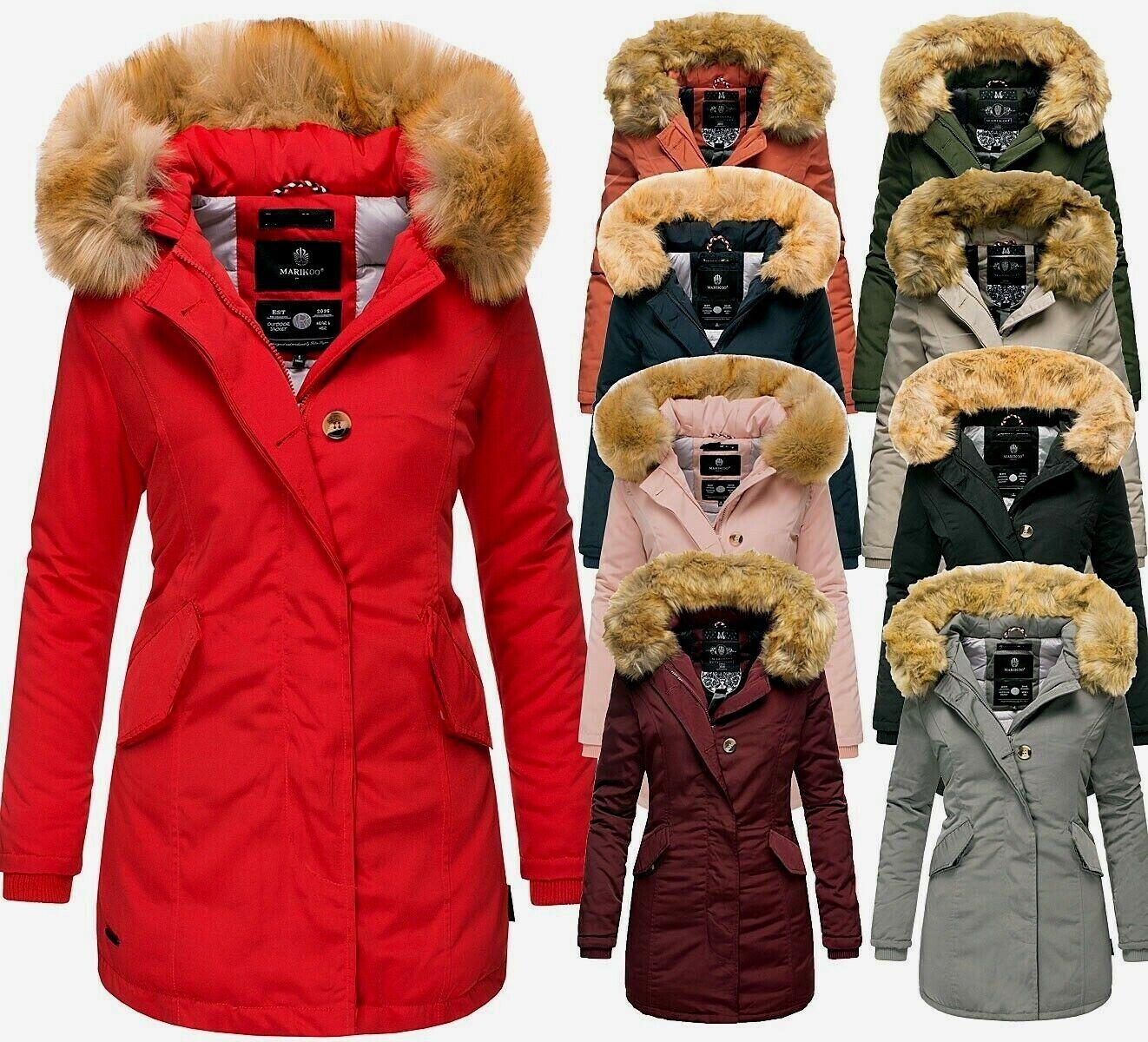 Marikoo Karmaa Damen Winter Jacke FVSC Steppjacke Parka Mantel warm gefüttert