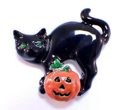 Halloween Black Cat and Jack-O-Lanter Pin Brooch Broach - Halloween Pins And Brooches