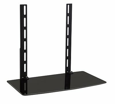 GLASS SHELF ABOVE OR UNDER TV WALL MOUNT BRACKET DVD DVR CABLE BOX GAME -
