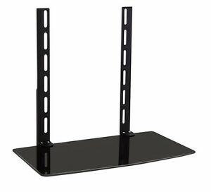 GLASS SHELF ABOVE OR UNDER TV WALL MOUNT BRACKET DVD DVR CABLE BOX GAME SYSTEM