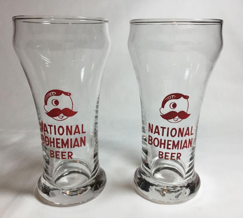 """2 Vintage Clear National Bohemian Beer 10 Oz Pilsner Glass Red Logo, 6"""""""
