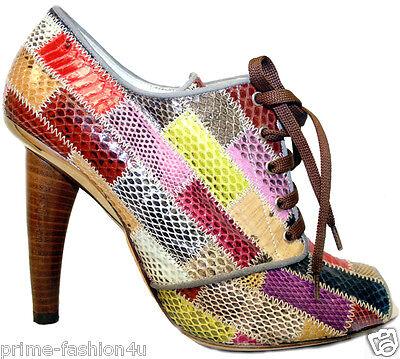 DOLCE & GABBANA Multicolor Patchwork Python  Open Toe Shoes Boots