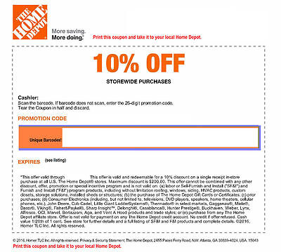 ONE (1x) Home Depot 10% Off-Coupons Save up to $200 In Store Only Exp 7/7/17