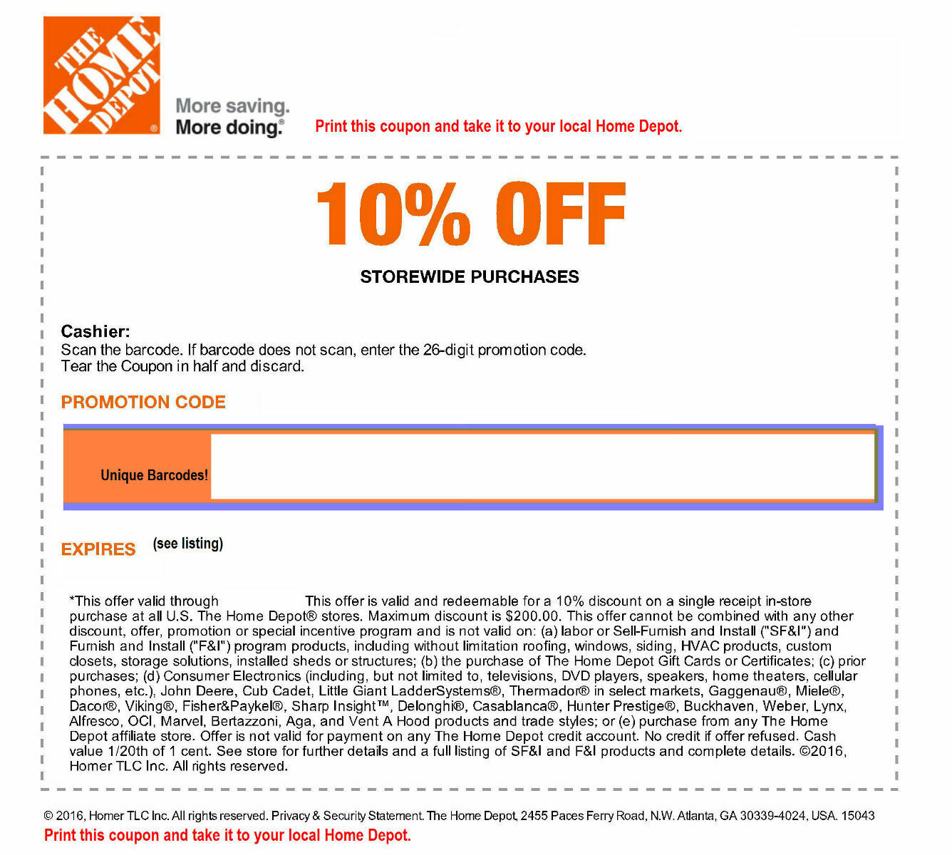 Купить One (1x) Home Depot 10% Off-Coupon Save upto $200 In-Store Only----