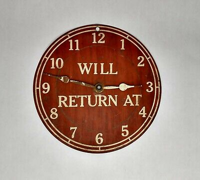 Vintage Metal Open Sign Will Return At Clock Face Open Come In