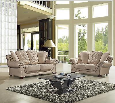 Ae D803 Crm Modern 2Pcs Cream Leather Sofa Set