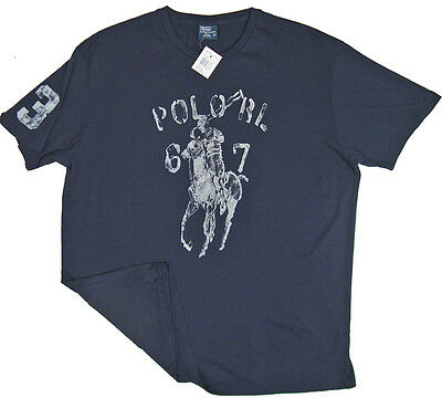 Blue Player T-shirt (NEW! Polo Ralph Lauren T Shirt!  White  *HUGE BLUE WATERCOLOR POLO PLAYER*)