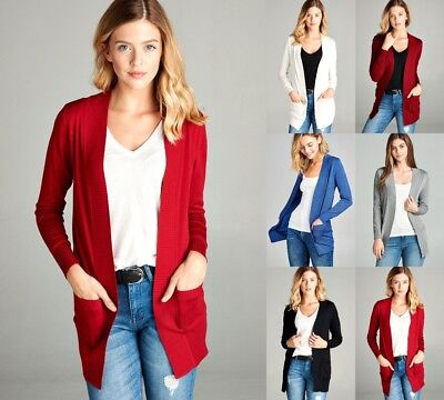 Sleeve Open Front Cardigan - Women's Cardigan Long Sleeve Open Front Draped Sweater Rib Banded w/ Pockets S-L