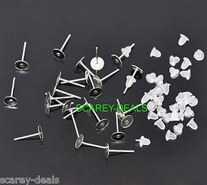 100-6mm-Silver-Plated-FLAT-PAD-STUDS-earring-posts-free-backs-1ST-CLASS-POST