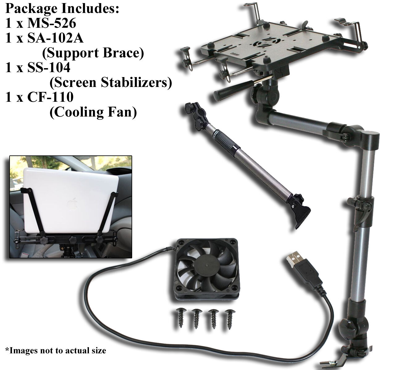 Mobotron MS-526 Heavy-duty Laptop Mount + Screen Stabilizer+