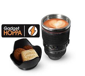 Tasse de caf en acier inox en forme d 39 objectif de cam ra for Thermos caffe