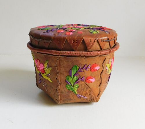 Vintage Native American Canadian Birch Bark Quilled Basket With Lid