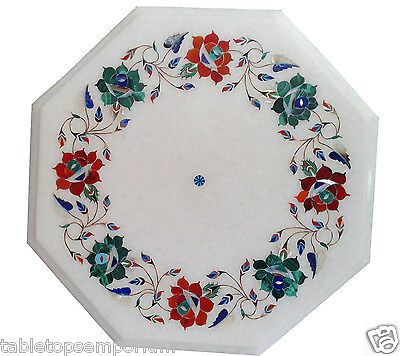 12'' White Marble Decorative Mosaic Coffee Table Floral Inlay Occasional Gifts