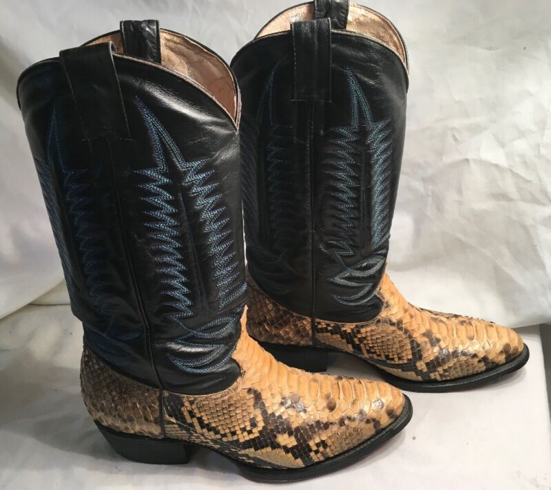 Moreno, Handmade, Mens, 7-1/2, Leather, &, Genuine, Snakeskin, Western, Cowboy, Boots,