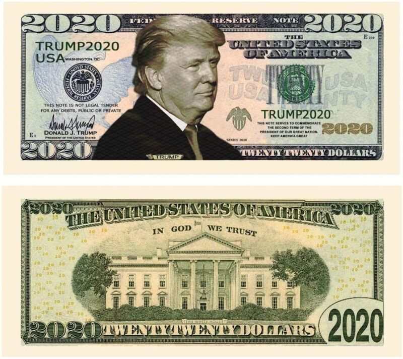 25 TOTAL - Donald Trump 2020 Re-Election Presidential Novelty Dollar Money Bills
