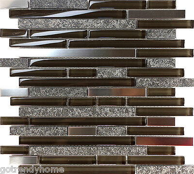 10SF Brown Stainless Screw up one's courage to the sticking point Gray Natural Stone Mosaic Tile Kitchen Backsplash Spa