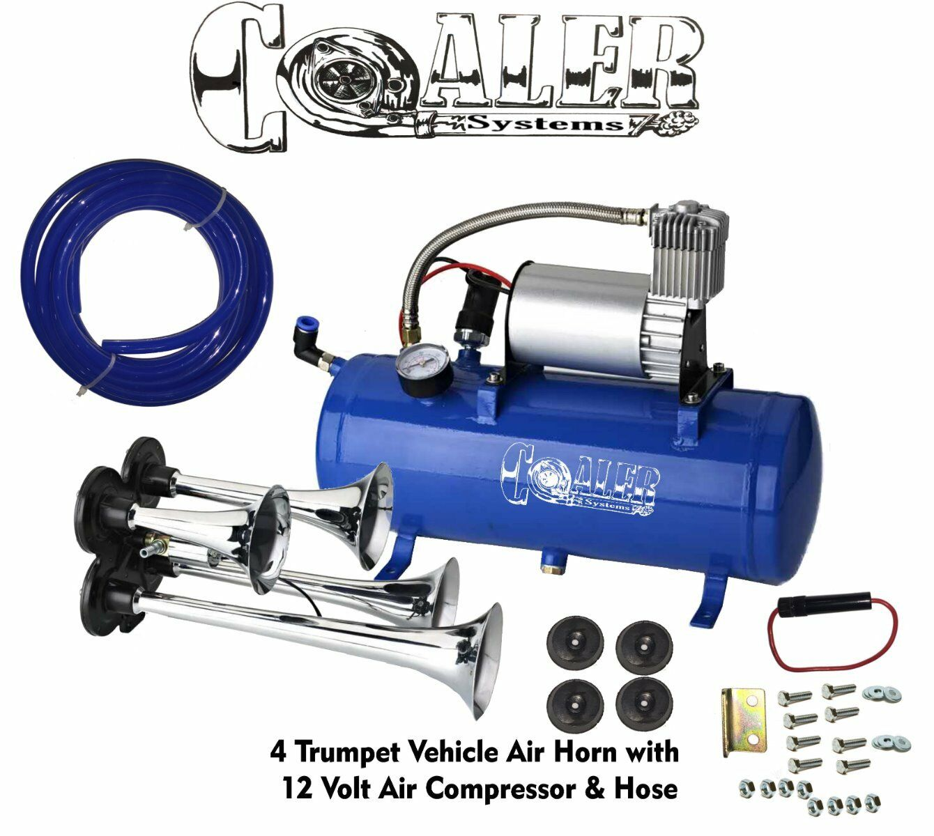 Air Horn 4 Trumpet 12 Volt Compressor 9ft Hose 150 dB Train 120 PSI Kit  Truck