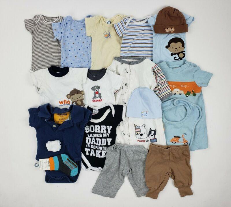 Nb 0-3 Month Baby Boys Clothes Lot Oshkosh Carters Gerber Etc Onesie Hat Newborn