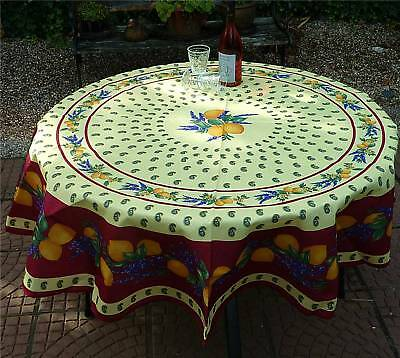 Tischdecke Provence 180 cm rund rot aus Frankreich, pflegeleicht und bügelfrei ()