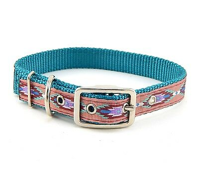 """HAMILTON ST Nylon Dog Collar, 20"""" x 3/4"""", Turquoise with Southwest Overlay"""