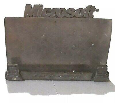 Vintage Desktop Business Card Holder Microsoft Made Of Metal