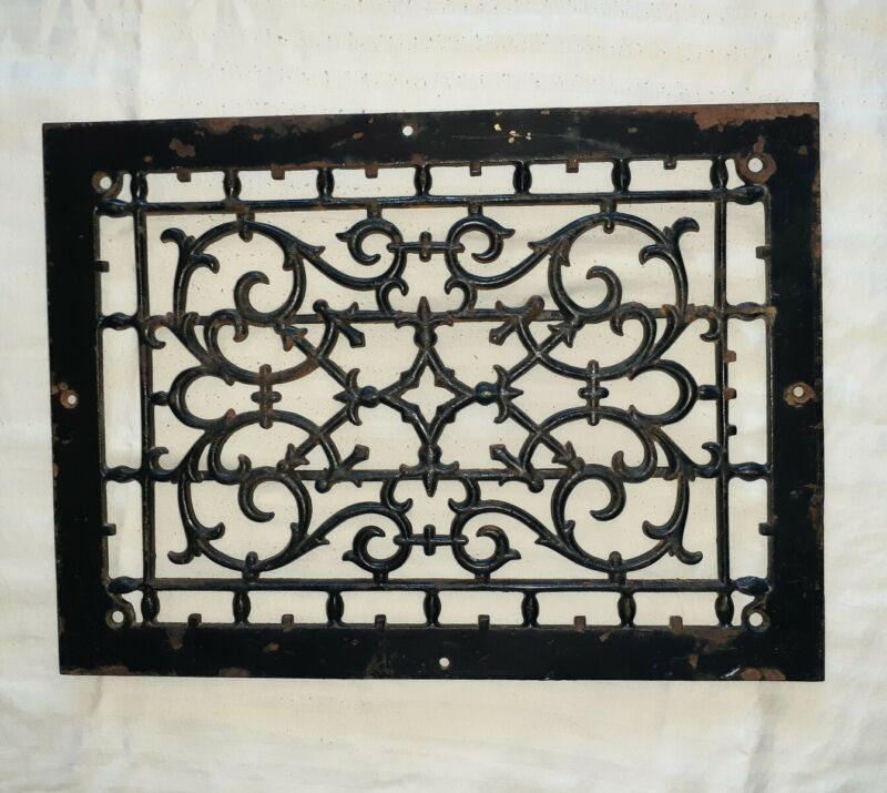 ANTIQUE VINTAGE CAST IRON HEAT VENT GRATE VICTORIAN REGISTER COVER ART DECO