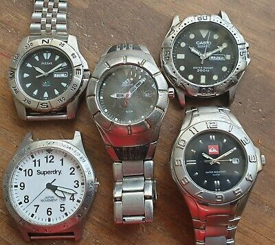 Lot of 5 divers watches,WR200: Casio,WR100: Adidas,Quicksilver,Pulsar+ 1Superdry