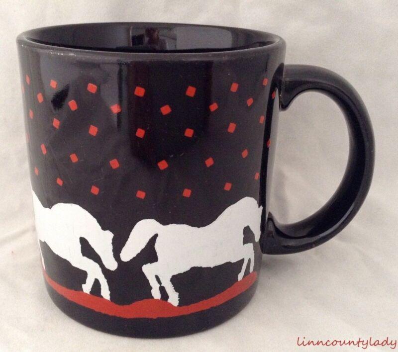 Vtg 1981 Mug White Horse Silhouettes Black Red GHC England Gear Design FR SHP