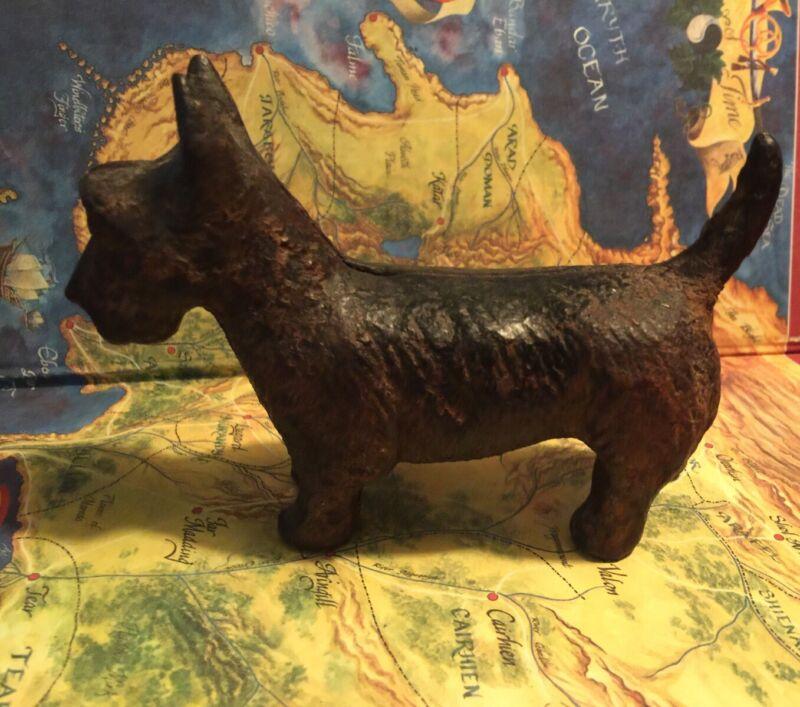 1920s SCOTTIE DOG CAST IRON BANK  Original Patina
