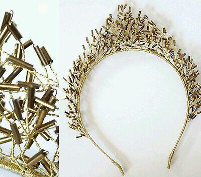 Krone Perlen Diadem Tiara Haarschmuck Brautschmuck Fascinator Anlass Boho Gold
