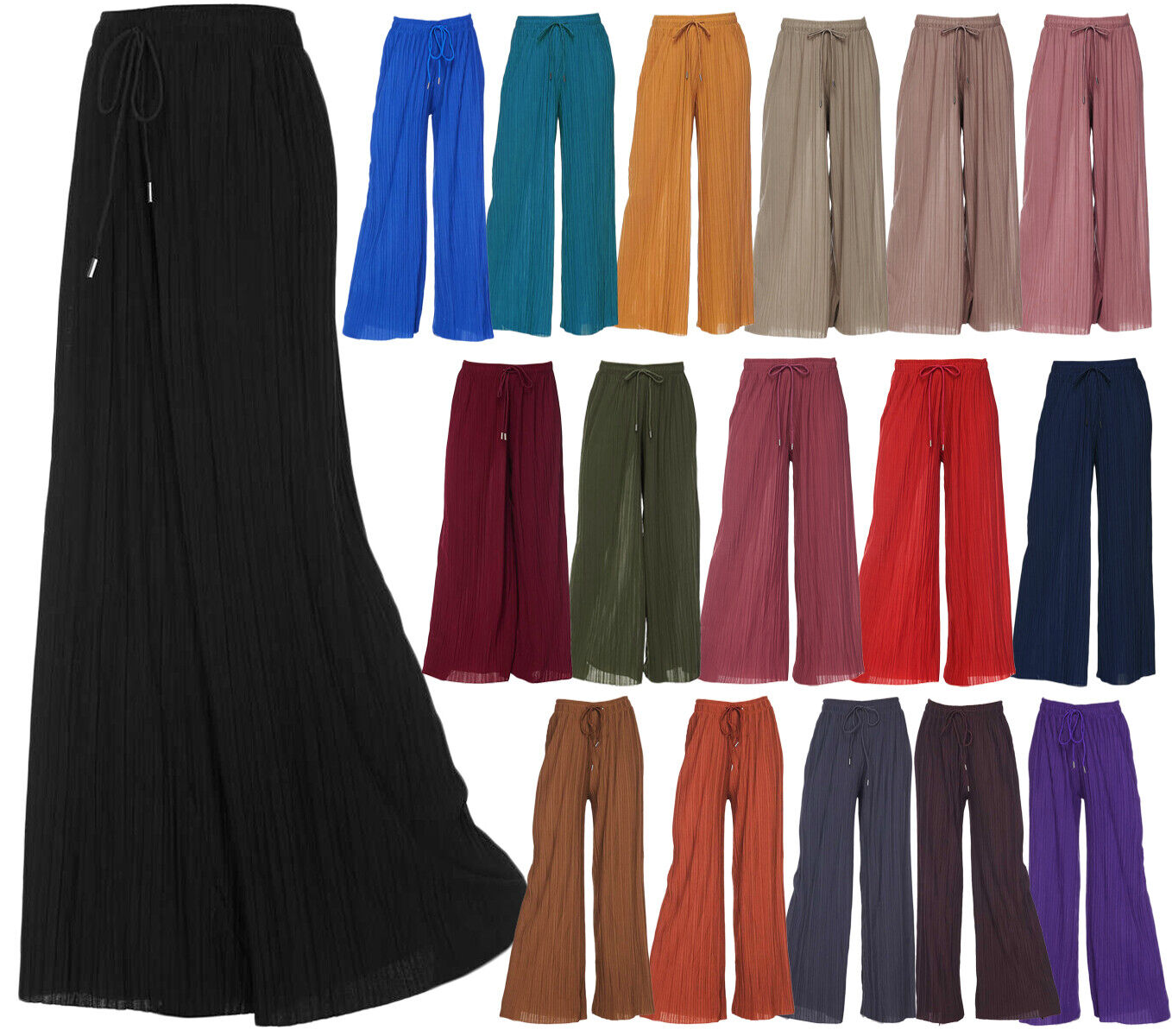 Women's Pleated Palazzo Wide Leg Lounge Pant One/ Plus Size Clothing, Shoes & Accessories