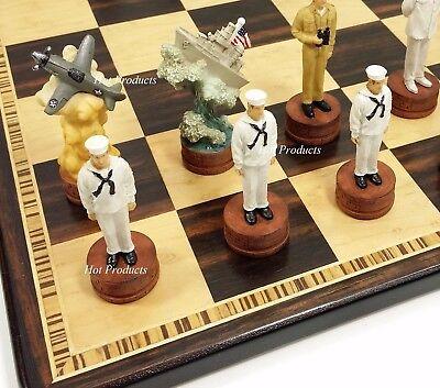 WW2 PEARL HARBOR US vs Japan Chess Set W/ EBONY & BIRDSEYE MAPLE WOOD BOARD 17