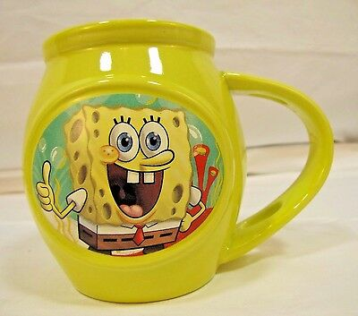 Spongebob Squarepants Coffee Tea Mug Cup 2014 Barrel Shaped Thumbs Up Holds 12oz (Spongebob Cup)