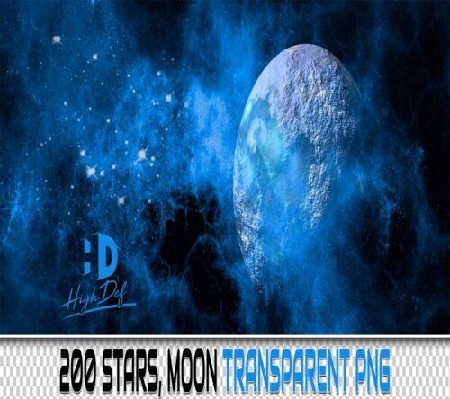 200 STARS MOON TRANSPARENT PNG DIGITAL PHOTOSHOP OVERLAYS BACKDROPS BACKGROUNDS