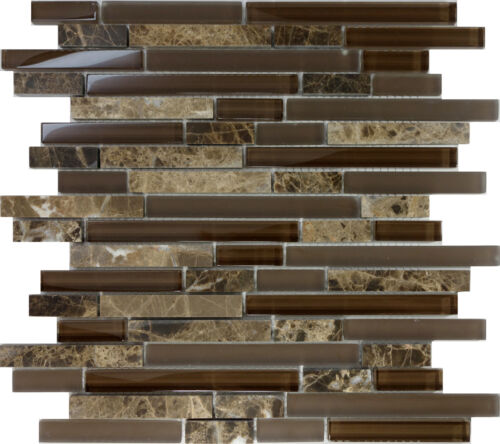 Sample Brown Glass Natural Stone Linear Mosaic Tile Wall: 10SF- Brown Glass Natural Stone Linear Mosaic Tile Wall