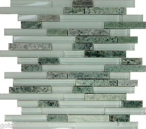 Green Glass Natural Stone Linear Mosaic Tile Kitchen Wall Backsplash