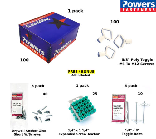 "5/8"" Poly Toggle Powers Fasteners  - uses # 6 to # 12 Screws (Box of 100)"